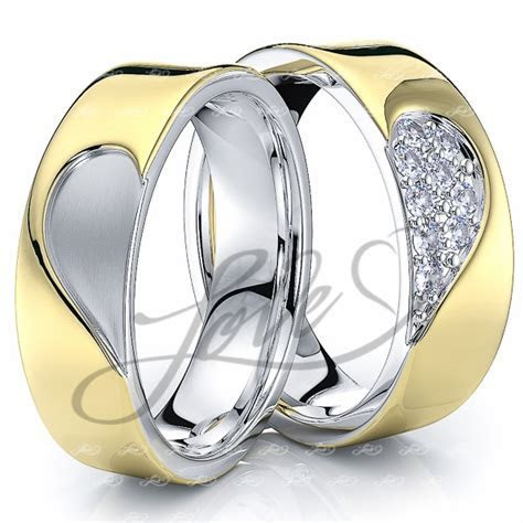 Solid 014 Carat 6mm Matching Heart Design His and Hers