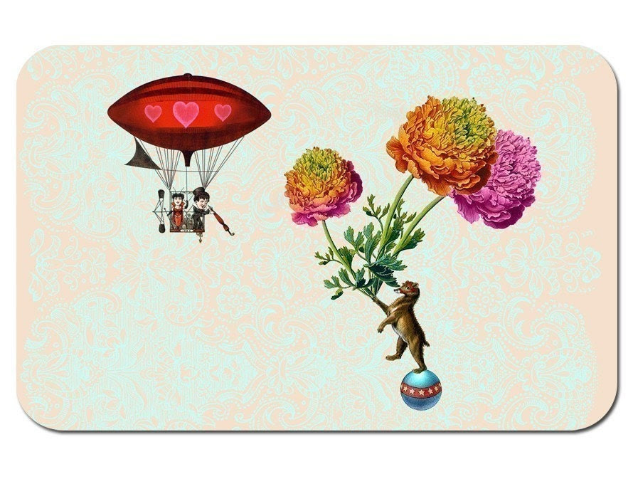 Lucy in the sky with flowers - set of 4 cute kitsch notecards and envelopes