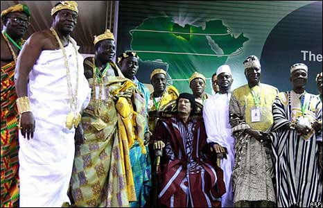 """Libyan leader Gaddafi with African traditional leaders who named him """"King of Kings."""" Gaddafi was elected as African Union Chairperson at the summit in Ethiopia on February 2, 2009. by Pan-African News Wire File Photos"""