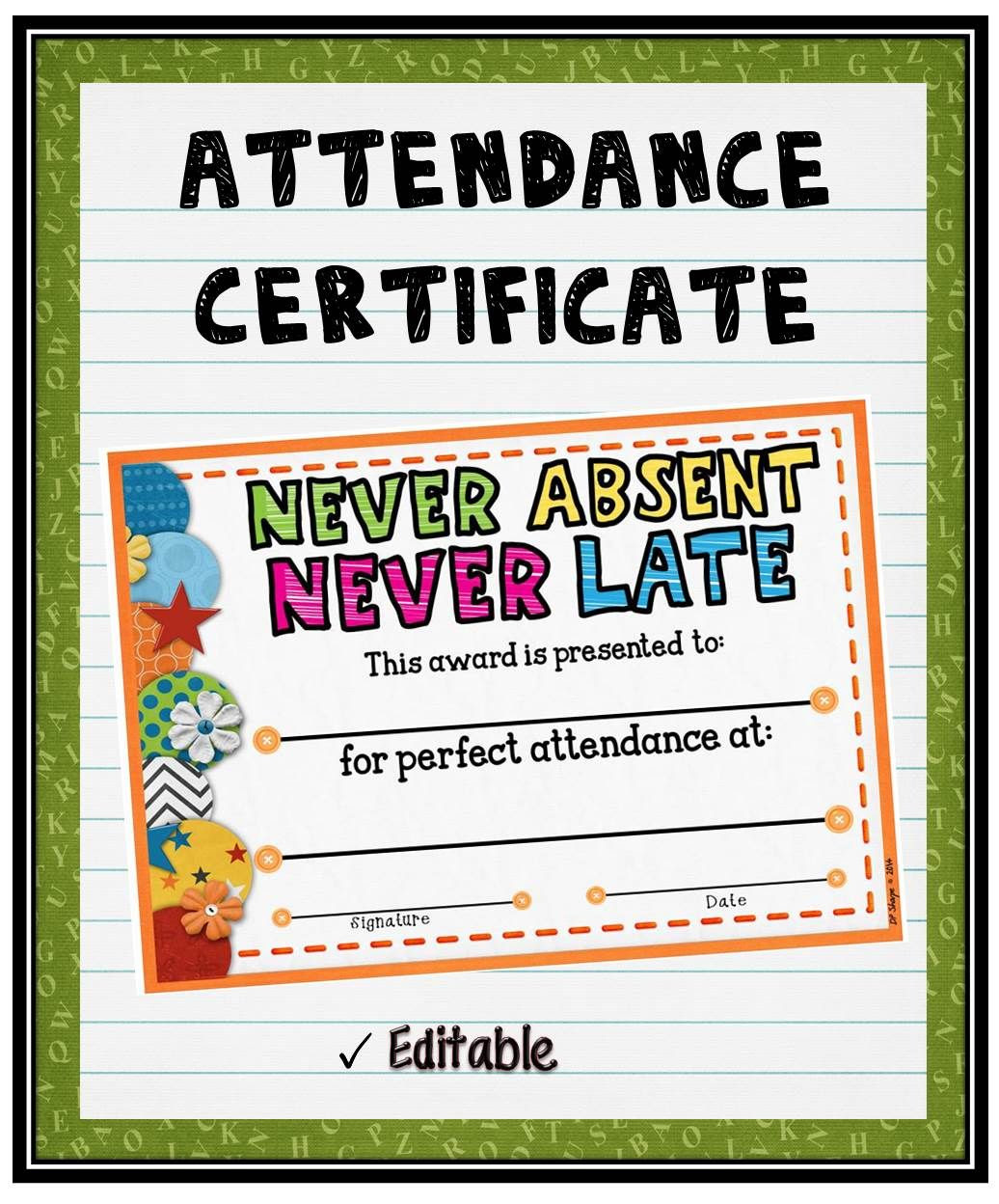 Attendance Certificate 2 {Fillable}   Student, Attendance and ...