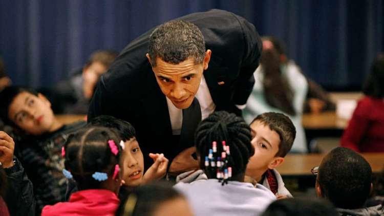President Obama visits a school