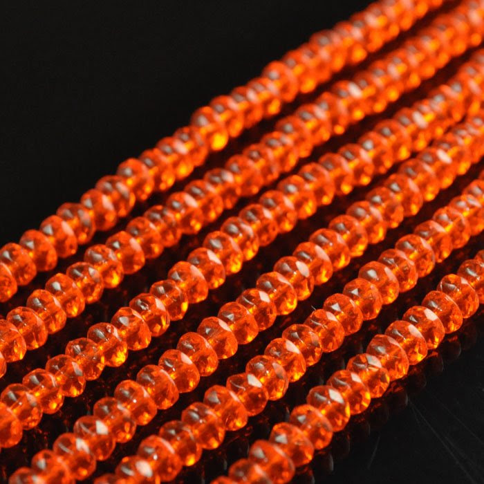 s43836 Firepolish - 4 x 3 mm Faceted Donut Rondelles - Hyacinth (strand 100)