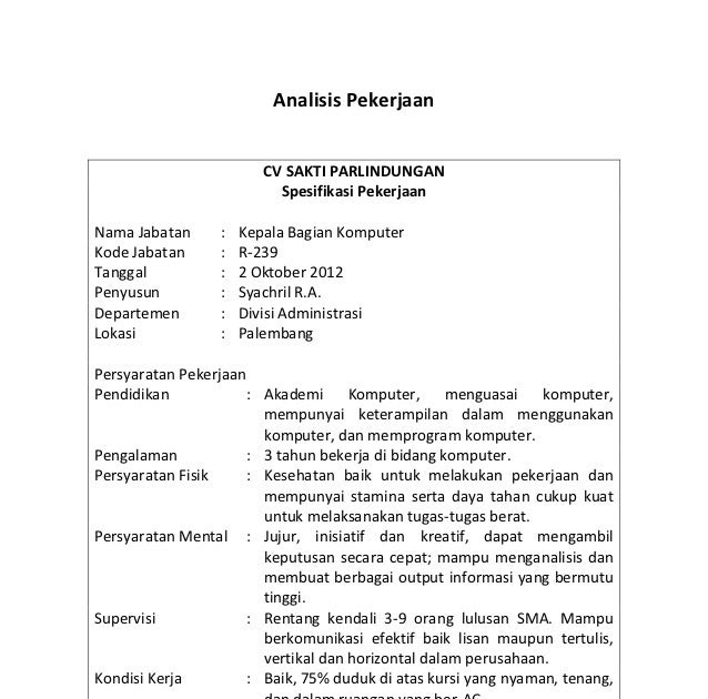 contoh job analysis dan job description