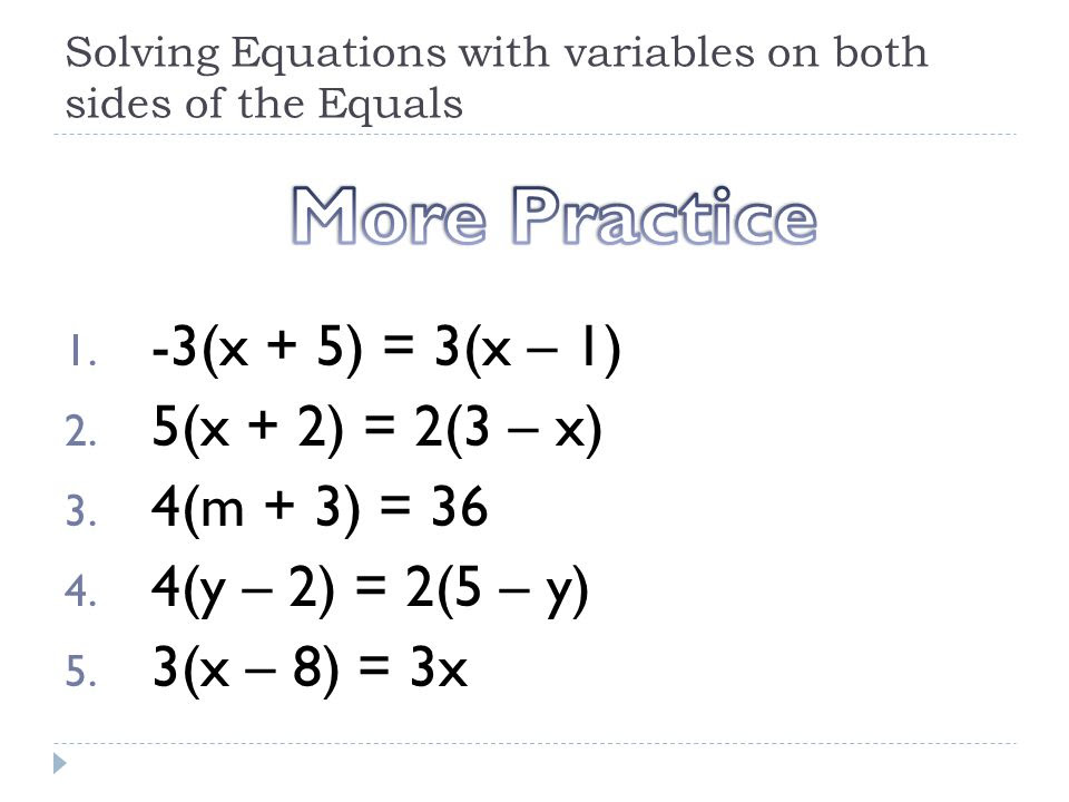 Practice 3 4 Solving Equations With Variables On Both Sides  Tessshebaylo