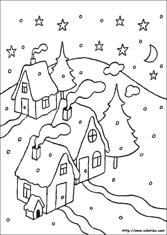 Coloriage Paysage De Noël