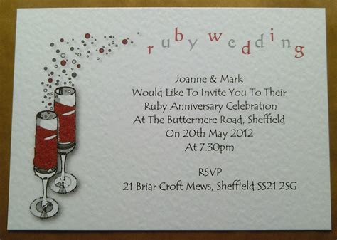 PERSONALISED RUBY WEDDING ANNIVERSARY INVITATIONS WITH