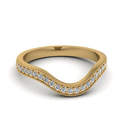 Milgrain Pave Curved Diamond Wedding Band   Fascinating
