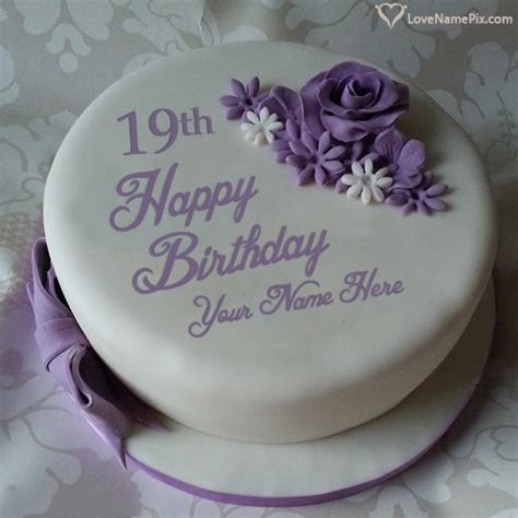 Beautiful Violet Rose 19th Birthday Cake With Name