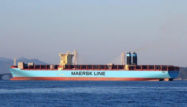 MV Maersk Maersk, not fully loaded. Image (c) Vladimir Tonie