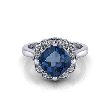 Chevron Halo Blue Topaz Ring   Jewelry Designs