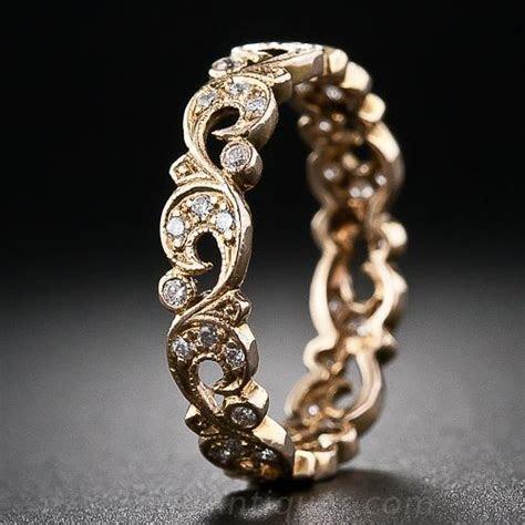 Vintage Style Rose Gold and Diamond Wedding Band