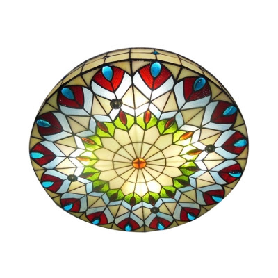 Stained Glass Vintage Tiffany Indoor Flush Mount Ceiling
