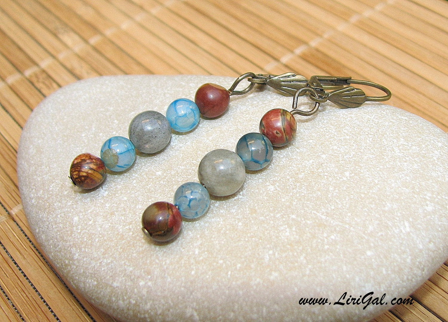 Labradorite  and Picasso Jasper Earrings