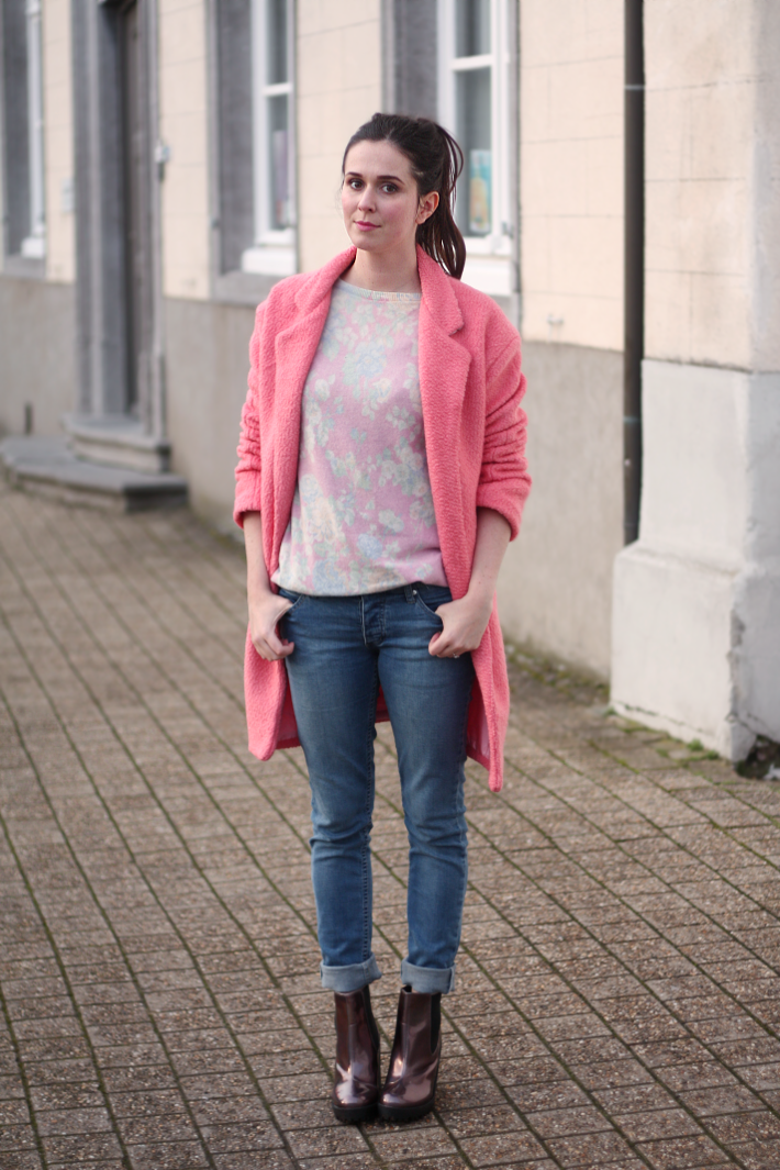Pink Coat, Cheap Monday Skinnies, Holographic Boohoo Boots
