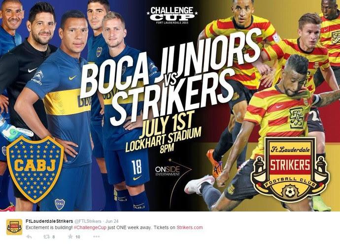 twitter amistoso boca juniors x fort lauderdale strikers (Foto: Reprodução / Twitter)