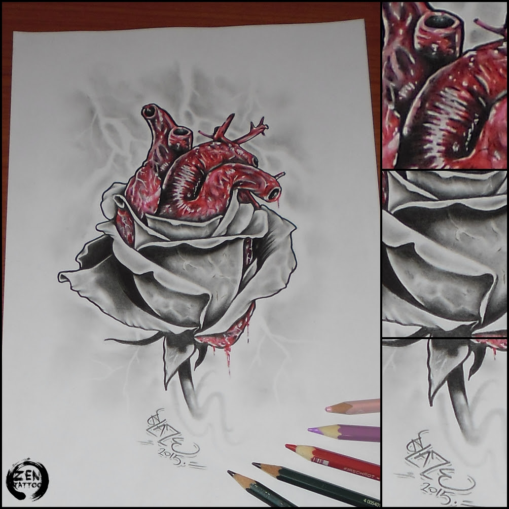 Heart And Rose Drawing At Getdrawingscom Free For Personal Use