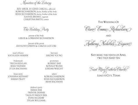 And Galveston Bay Catholic Wedding Programs For Non Mass
