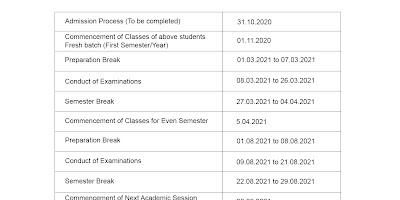 ugc released exam cum Academic calendar