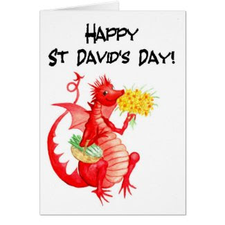 St David's Day Greeting Card: Cute Red Dragon