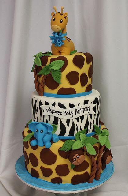 Jungle baby 3tiered cake med by Amanda Oakleaf Cakes, via Flickr