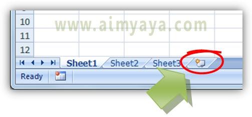 Gambar: tombol Insert Worksheet Microsoft Excel
