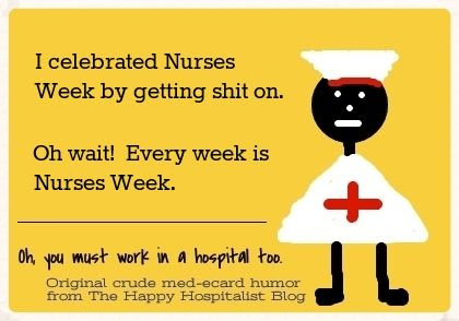 I celebrated Nurses Week by getting pooped on.  Oh wait!  Every week is Nurses Week ecard humor photo.