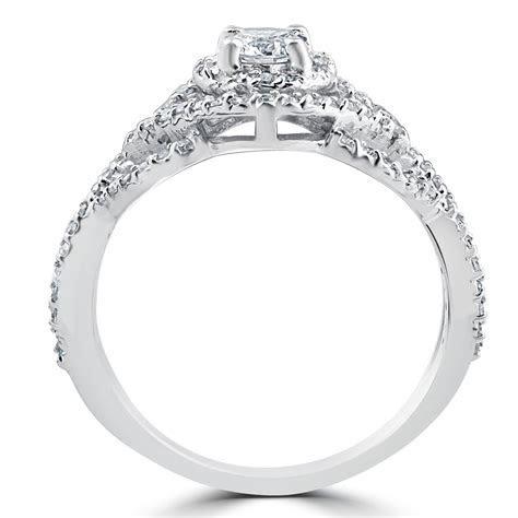 1 Ct Diamond Intertwined Engagement Matching Wedding Ring