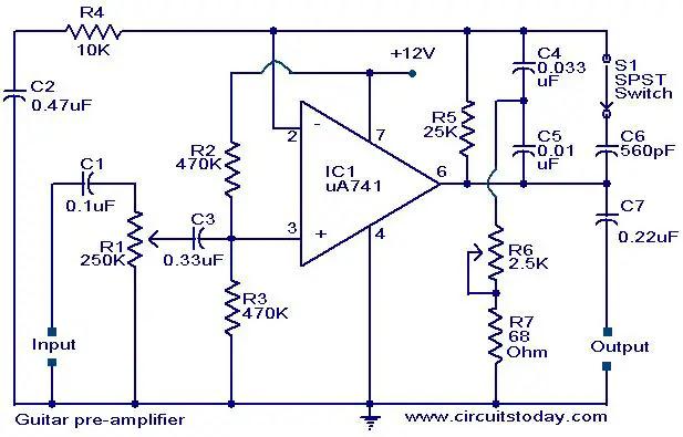 Simple 741 Pre Ampli Circuit