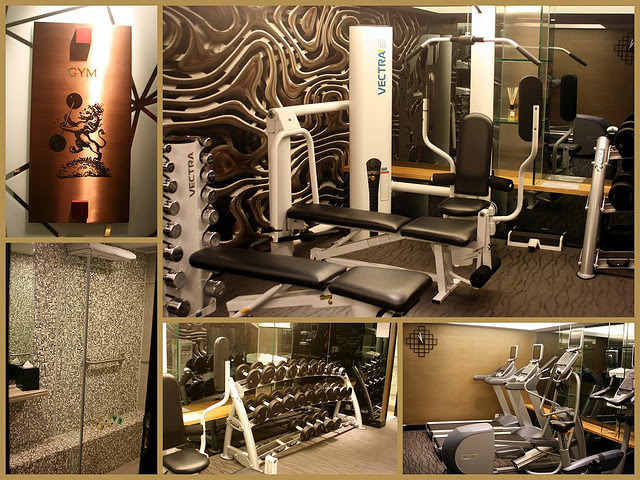 The gym in the basement of The Luxe Manor
