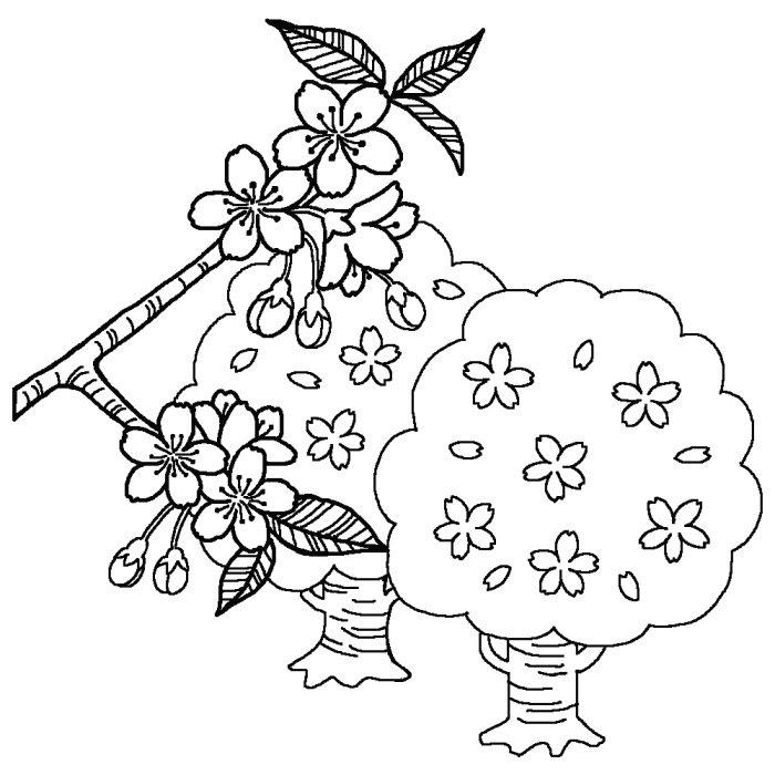 桜さくら白黒春の無料イラスト季節素材