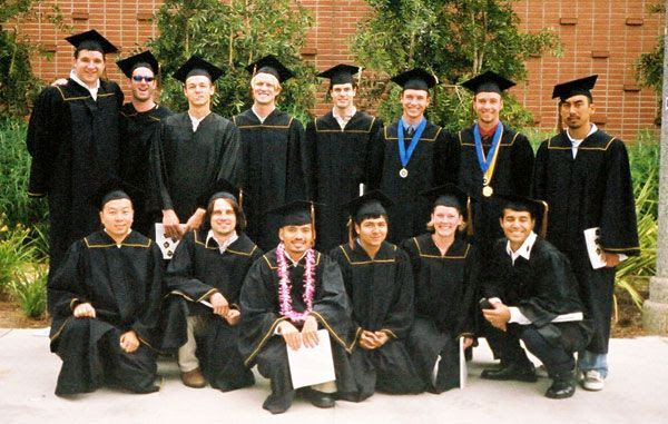 My classmates and I (with the purple lei) pose for a group photo after our graduation ceremony at Cal State Long Beach, on May 28, 2004.