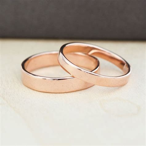 14K Rose Gold Wedding Band Set, Gold Wedding Rings, 3mm