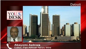 Abayomi Azikiwe, editor of the Pan-African News Wire, depicted in a graphic for Press TV's United States Desk. Azikiwe is a frequent guest on international media outlets. by Pan-African News Wire File Photos