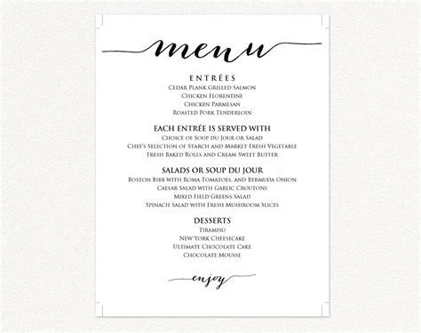 Wedding Menu Templates · Wedding Templates and Printables