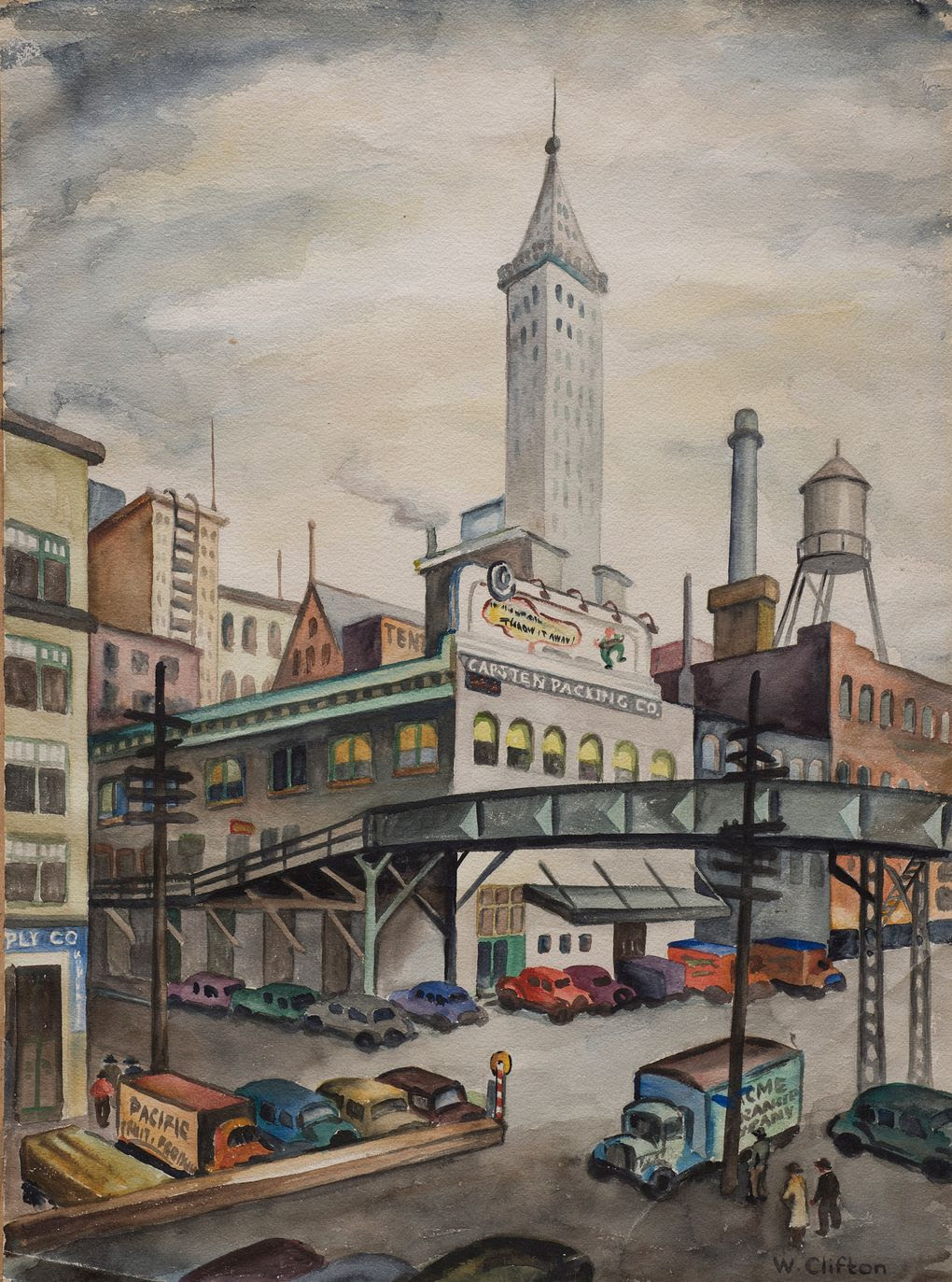 "Winifred Clifton, ""Seattle Waterfront"" (1943), captures the city when the Smith Tower was its tallest structure."