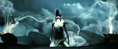 The Oracle (Kelly Craig).  This shot was filmed underwater.