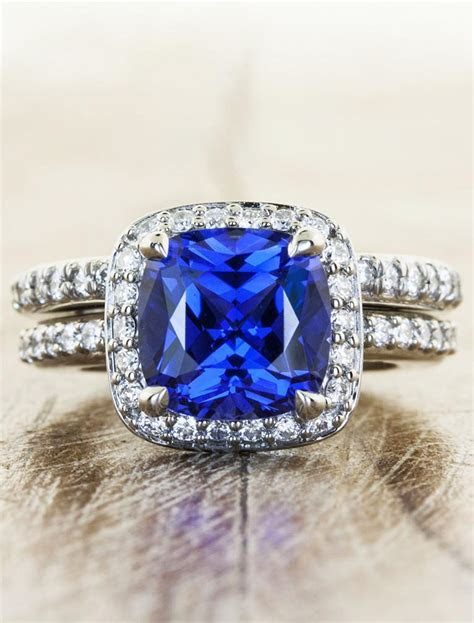 Nora: Halo Cultured Sapphire Engagement Ring in Palladium