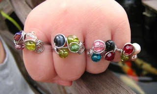 fruity wire wrapped rings around fingers