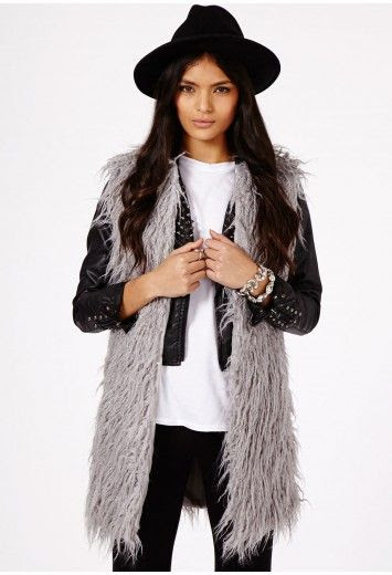 Faux Fur Gilet Grey
