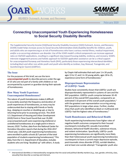 First page of Connecting Unaccompanied Youth Experiencing Homelessness to Social Security Disability Benefits issue brief