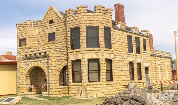 The Fossil Station Museum in Russell, Kansas, is built of post rock limestone, and once served as the sheriff's office and county jail.