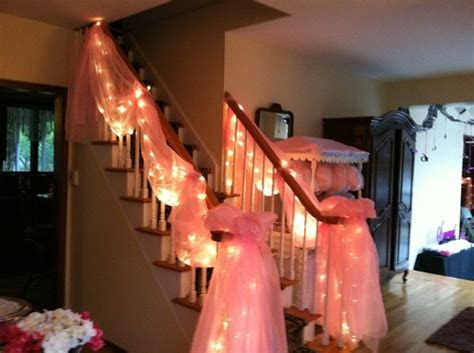 Pink Tulle and Lights staircase decor   Stairway