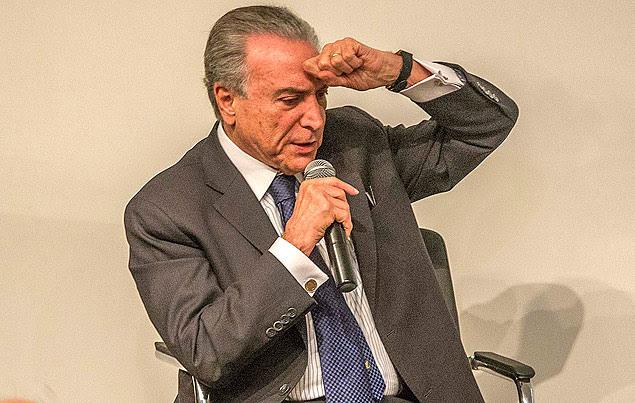 O vice-presidente, Michel Temer (PMDB), durante evento com empresários em São Paulo