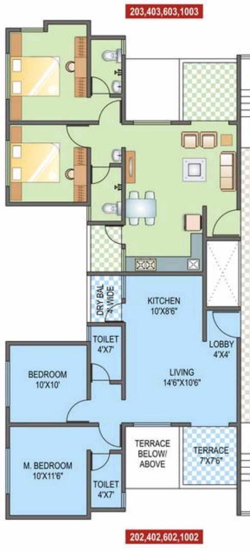 2 BHK Flat - 593 Carpet + 53 Terrace - Even Floors - A1 & A2 Buildings - Sunshine Joy Pirangut Chowk, Pune 412 108