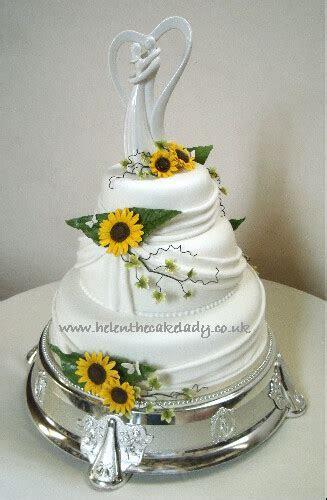 Sunflower 3 tier stacked wedding cake   Sunflower themed