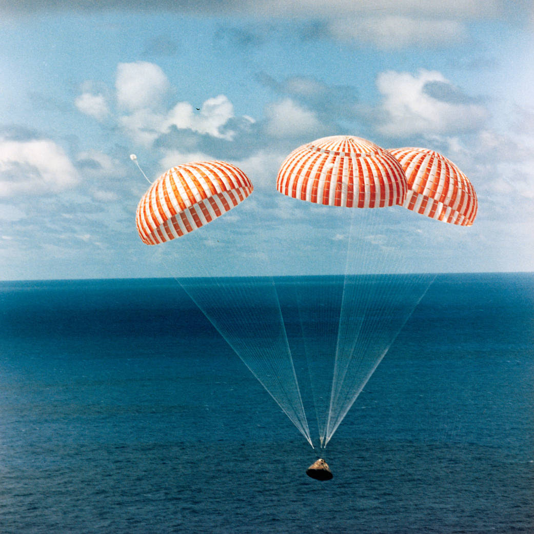 The Apollo 14 Command Module (CM) approaches touchdown in the South Pacific Ocean.