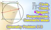 Problem 313.<br />Circle, Chord, Tangent, Perpendicular, Geometric Mean.