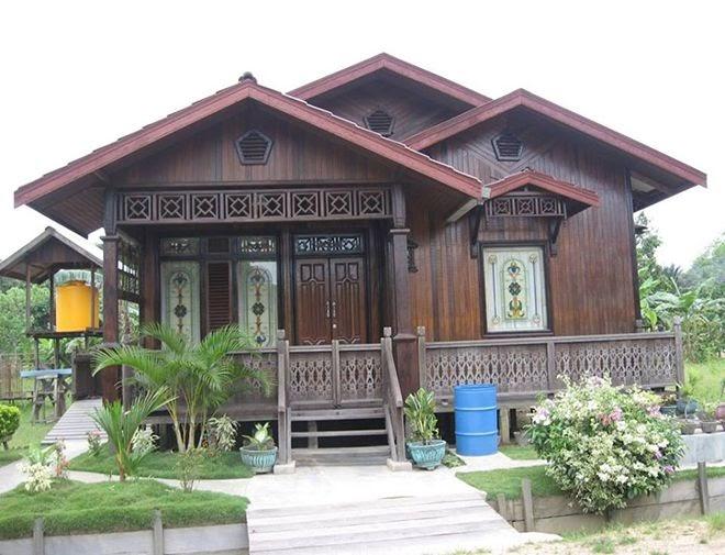 mewarnai gambar rumah kayu