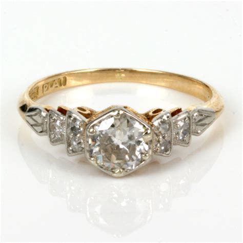 Buy Antique diamond engagement ring in gold and platinum