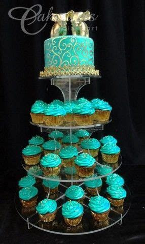 Gold and teal cupcake tower www.cakeaters.com   Our Cakes